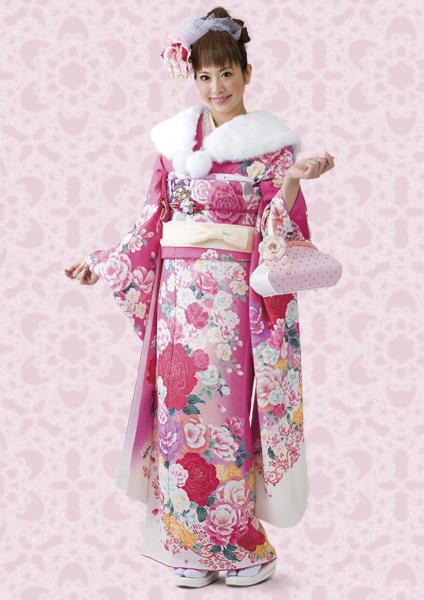 ふんわり可愛いピンクのモダン柄振袖です